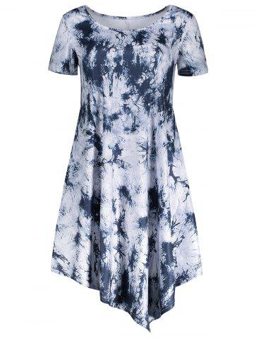 Outfits Short Sleeve Tie Dye Asymmetrical Dress