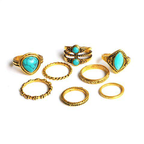 Unique Faux Turquoise Geometric Teardrop Gypsy Ring Set - GOLDEN  Mobile