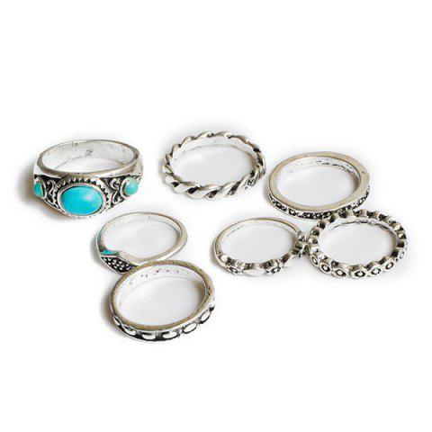 Outfits Faux Turquoise Geometric Engraved Gypsy Ring Set - SILVER  Mobile