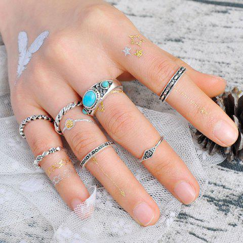 Chic Faux Turquoise Geometric Engraved Gypsy Ring Set - SILVER  Mobile
