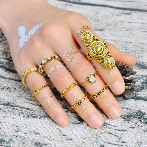Chic Teardrop Rhinestone Mid Finger Gypsy Ring Set - GOLDEN  Mobile