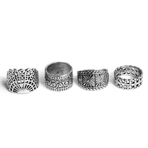 Chic Wide Flower Engraved Gypsy Ring Set - SILVER  Mobile