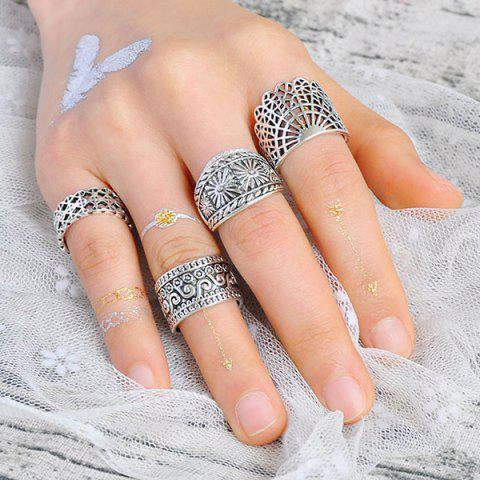 Sale Wide Flower Engraved Gypsy Ring Set - SILVER  Mobile