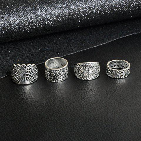 Store Wide Flower Engraved Gypsy Ring Set - SILVER  Mobile