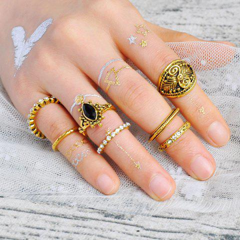 Latest Engraved Rhinestoned Mid Finger Gypsy Ring Set - GOLDEN  Mobile