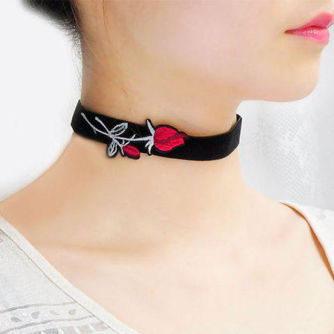 Store Faux Suede Rose Embroidered Choker Necklace