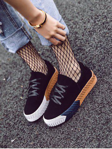 Trendy Suede Round Toe Flat Shoes - 37 BLACK Mobile