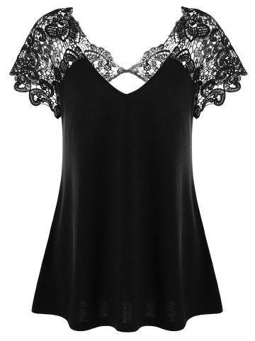 Trendy V Neck Plus Size Lace Trim Cutwork T-Shirt