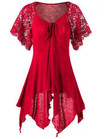 Plus Size Self Tie Flowy Handkerchief Top With Sleeves - Red - 3xl