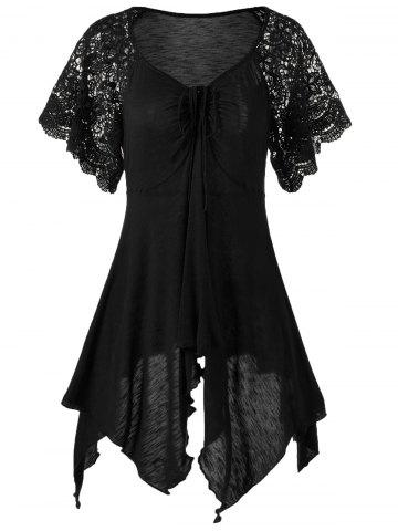 Plus Size Self Tie Flowy Handkerchief Top With Sleeves - Black - 3xl