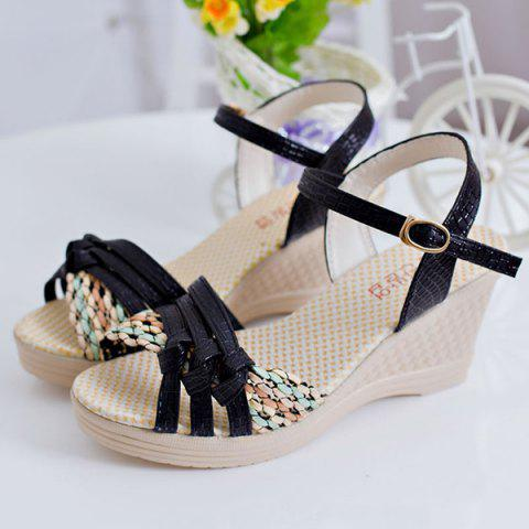 Sale Weaving Wedge Heel Knot Sandals - 37 BLACK Mobile