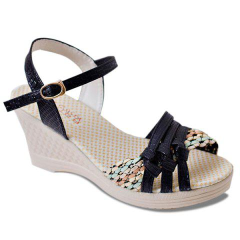 Unique Weaving Wedge Heel Knot Sandals - 37 BLACK Mobile