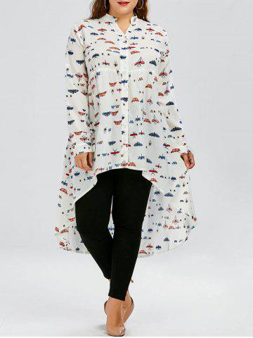 Plus Size Long Sleeve Casual Butterfly Print Chiffon Top - White - 4xl