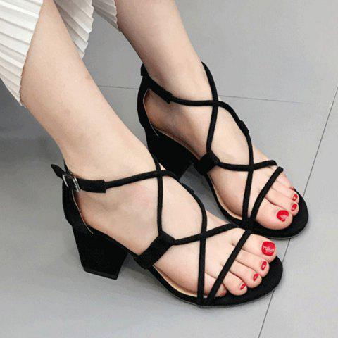 Cheap Cross Strap Suede Chunky Heel Sandals BLACK 37
