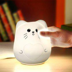 Color Change USB Charge Cartoon Cat Silicone LED Night Light - WHITE
