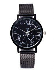Marble Texture Steel Mesh Strap Quartz Watch - BLACK