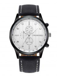 Faux Leather Strap Number Quartz Wrist Watch - WHITE AND BLACK