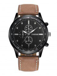 Faux Leather Strap Number Quartz Wrist Watch - BLACK AND BROWN