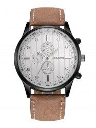 Faux Leather Strap Number Quartz Wrist Watch - WHITE AND BROWN