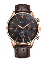 Faux Leather Strap Quartz Watch - BLACK AND BROWN