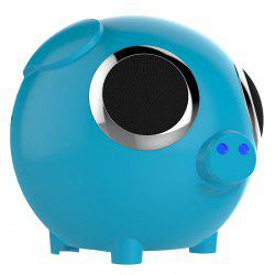 DUDU Pig Multifonction FM Radio Power Bank Bluetooth Speaker - Bleu