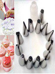 DIY Cake Tools Squeeze Cream Stainless Steel Pastry Set de buse de tuyauterie - Blanc