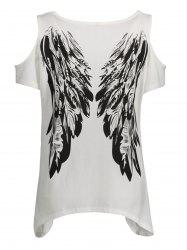 Plus Size Cold Shoulder Angel Wings T-Shirt