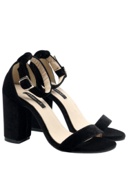 Velvet Block Heel Sandals - BLACK