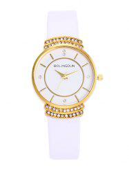 Faux Leather Strap Rhinestone Quartz Watch - WHITE