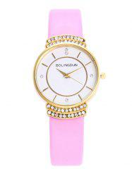 Faux Leather Strap Rhinestone Quartz Watch
