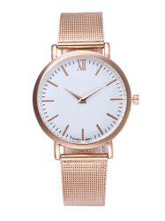 Mesh Roman Numeral Wrist Quartz Watch - ROSE GOLD
