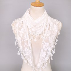 Waterdrop Embroidery Tassel Pendant Lace Triangle Rose Scarf - WHITE