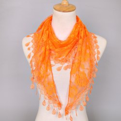 Waterdrop Embroidery Tassel Pendant Lace Triangle Rose Scarf - ORANGE