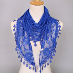 Waterdrop Embroidery Tassel Pendant Lace Triangle Rose Scarf - ROYAL