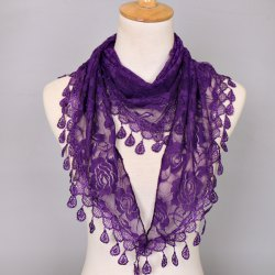 Waterdrop Embroidery Tassel Pendant Lace Triangle Rose Scarf - PURPLE