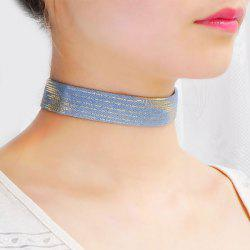 Cannetille Pinstriped Jeans Choker Necklace