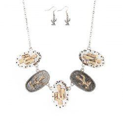 Metal Plated Cactus Emboss Necklace and Earrings -