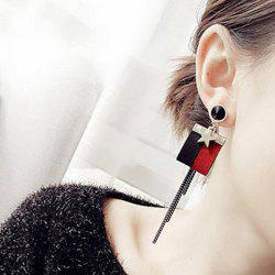 Alloy Star Rhinestone Felt Drop Stud Earrings
