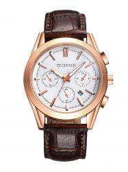 Faux Leather Strap Date Quartz Wrist Watch