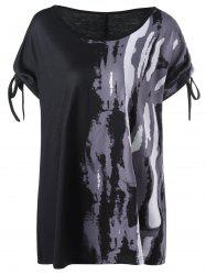 Tie Sleeve Tie Dye Graphic Plus Size T-Shirt