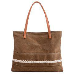 Lace Trim Canvas Shopper Bag