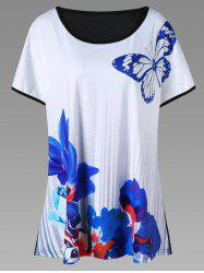 Butterfly and Floral Plus Size T-Shirt