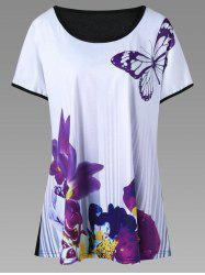 Butterfly and Floral Casual Plus Size T-Shirt