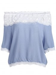 Off The Shoulder Lace Trim Chiffon Blouse - LIGHT BLUE L