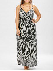 Plus Size Zebra Print Maxi Slip Beach Dress