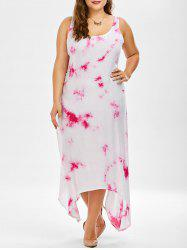 Plus Size Asymmetric Tie Dye Midi Dress