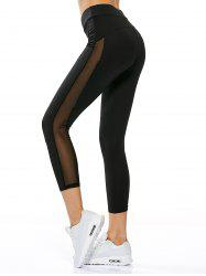 Sheer Mesh Insert Gym Running Capri Leggings - BLACK