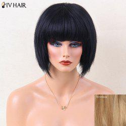 Siv Hair Short Straight Thick Bob Full Bang Human Hair Wig