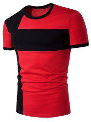 Color Block Cross Panel Short Sleeve T-Shirt - RED