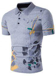 Color Block Splatter Paint Print Polo T-Shirt